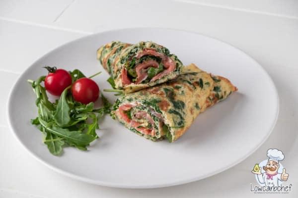 Gezonde wraps met zalm en spinazie
